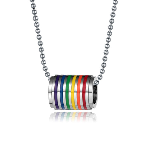 gay pride stainless steel rainbow pendant necklace