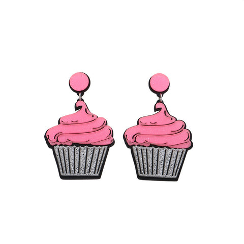 acrylic cute pink cup milk cake stud earrings for women
