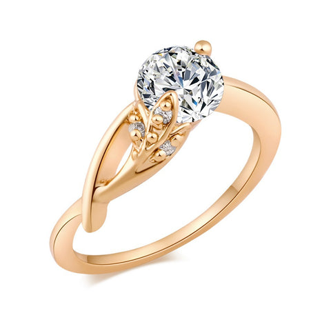 elegant style zircon crystal flower shape ring for women