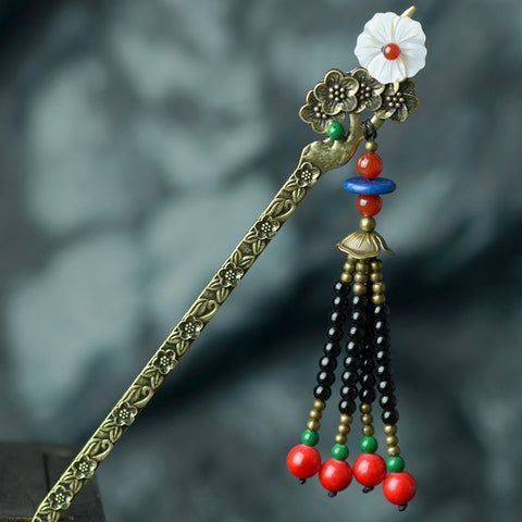 black red beads flower hair stick for women