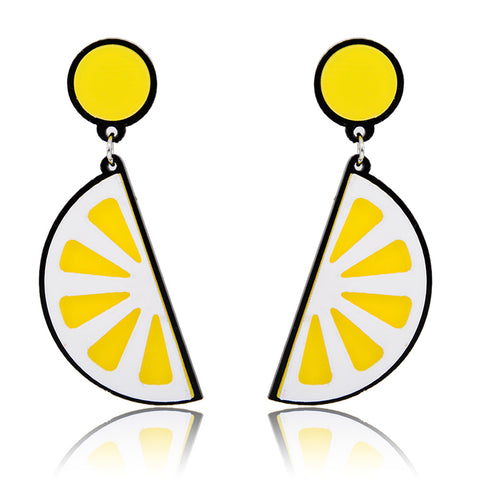 hip hop acrylic lemon drop earrings for women