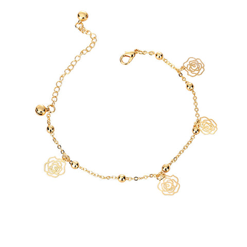 golden plated hollow rose flower bracelet for women