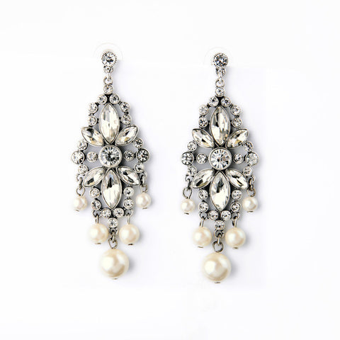 elegant long crystal simulated pearl drop earrings