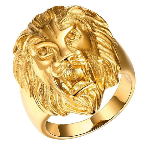 hip hop style big size gold color lion ring for men