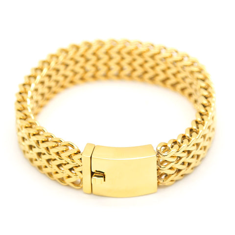 stainless steel gold 3 row franco link chain bracelet