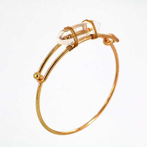 simple natural stone bangle women open arm cuff bracelet