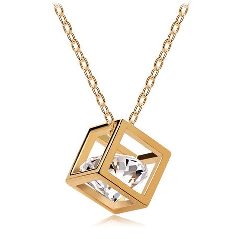 elegant crystal heart cube pendant Link Chain necklace