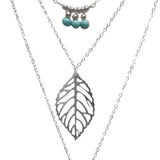 multilayer hammer chain leaf lariat bar pendant necklace