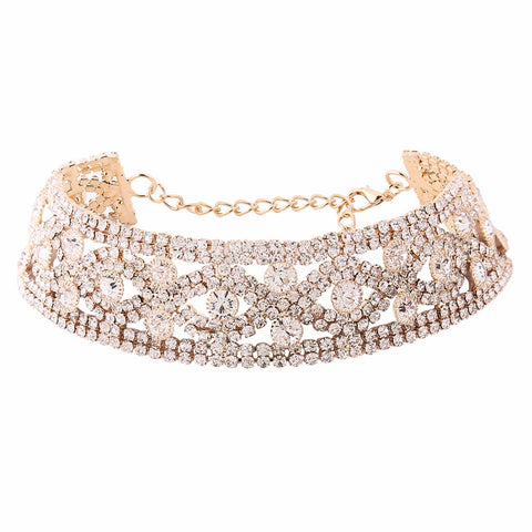 luxury crystal rhinestone choker necklace for women