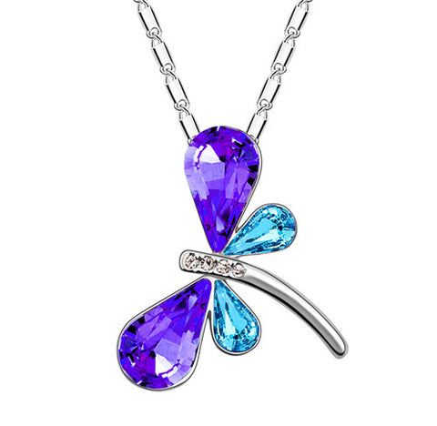 crystal dragonfly pendant necklace for women