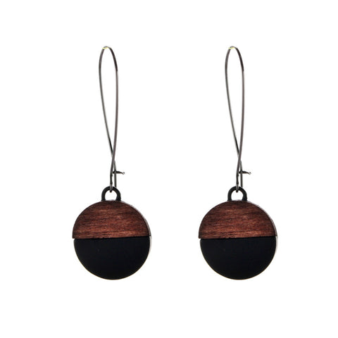 trendy black color round wood chip drop earrings for women