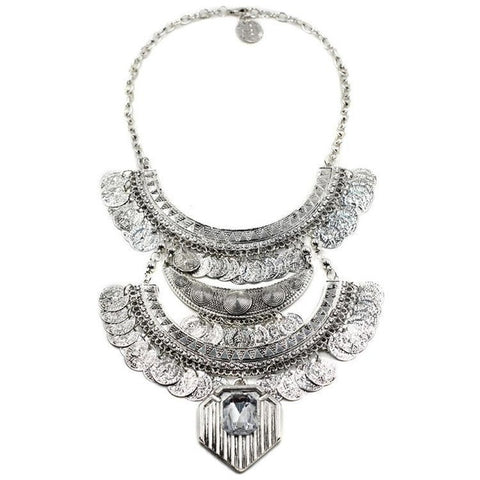 antique coins tassel bib chunky choker statement necklace
