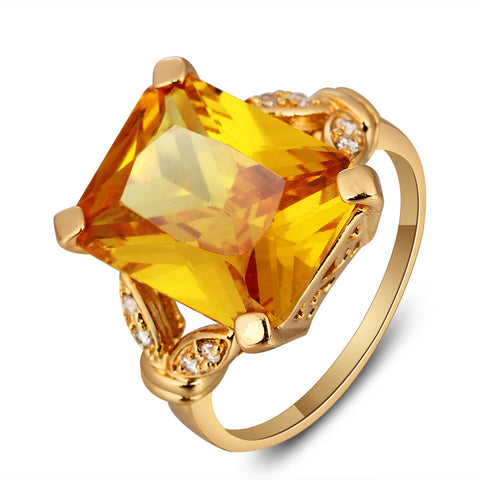square gold color yellow stone ring for women