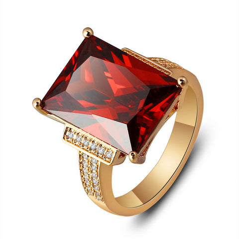 big square red stone gold ring for woman