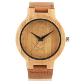 trendy pirate skull pattern bamboo wood quartz wrist watch