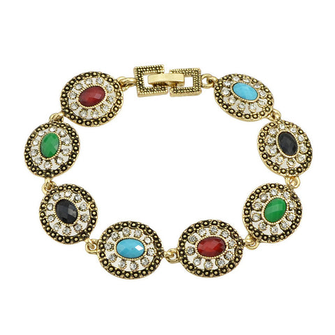 turkish style antique silver colorful round beads bracelet