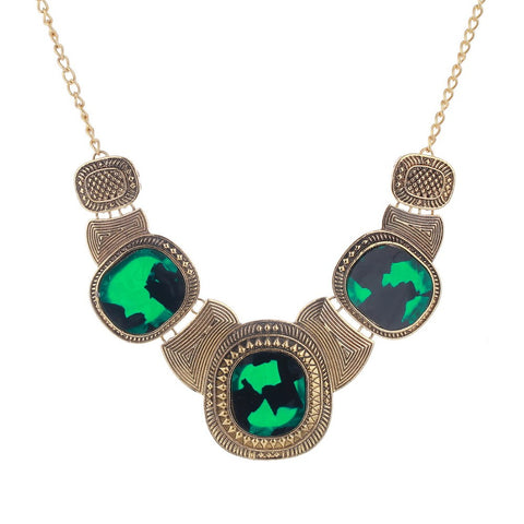 green stone choker pendant necklace for women