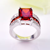 silver color big red cut cz stone ring for women
