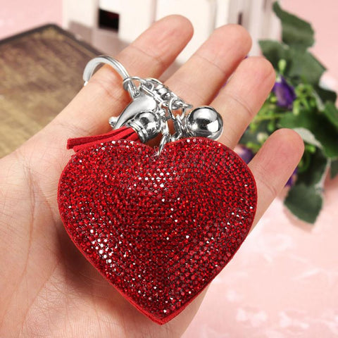 crystal rhinestone heart shaped handbag key chain for women