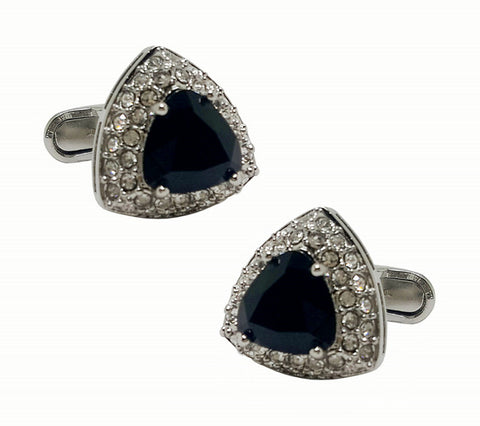 luxury blue crystal rhinestone triangle cufflinks for men