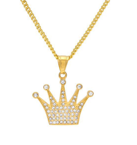 stainless steel iced out king crown pendant necklace