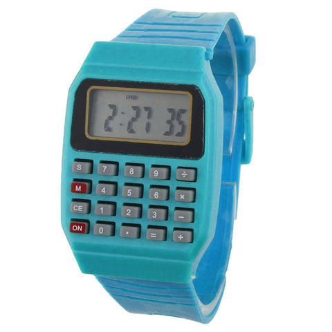 trendy digital electronic calculator silicone band wrist watch