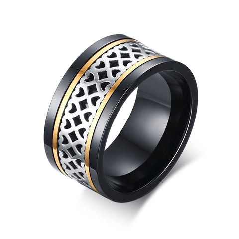 trendy hollow hearts pattern stainless steel ring for men