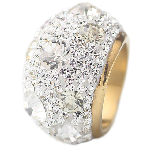 gold plate stainless steel austrian crystal ring for women