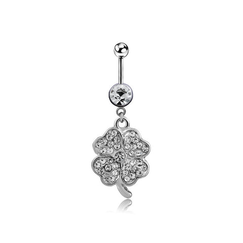 white crystal clover navel piercing belly button ring