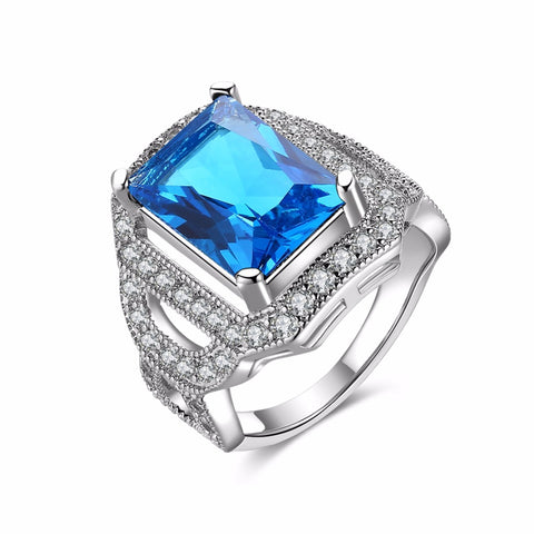 luxury white zircons square big blue stone ring for women