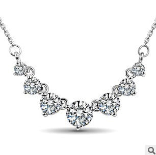 super shiny cz zircon sterling silver chain necklace for women