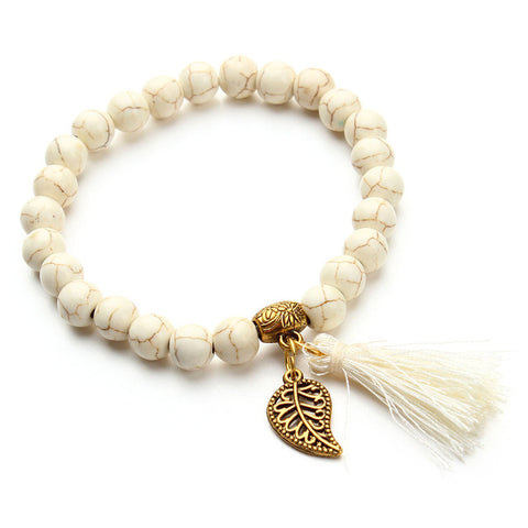 boho natural stone beads bracelet gold color leaf tassel