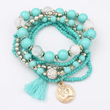 6pcs/set bracelet multilayer acrylic beads elastic bracelet - very-popular-jewelry.com