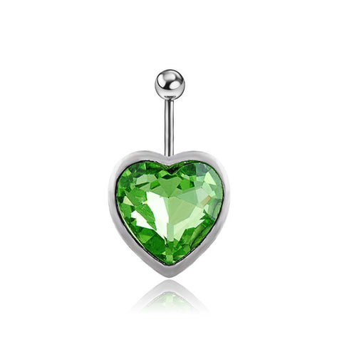 rhinestone heart piercing belly button ring
