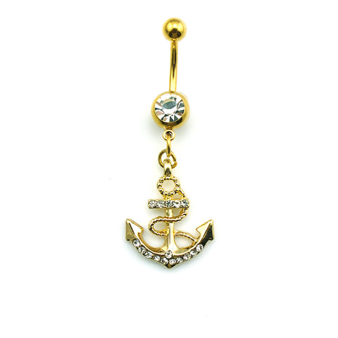 rhinestone anchor dangle barbell belly button ring