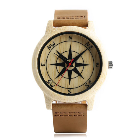 trendy natural wood compass pattern genuine leather watch