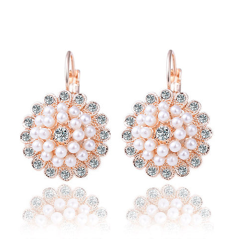 crystal cz rose gold color elegant round white pearl earrings