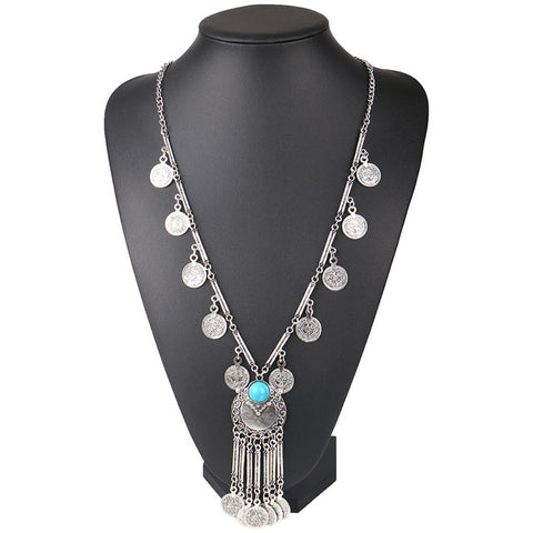 ethnic statement pendant long coin necklace for women