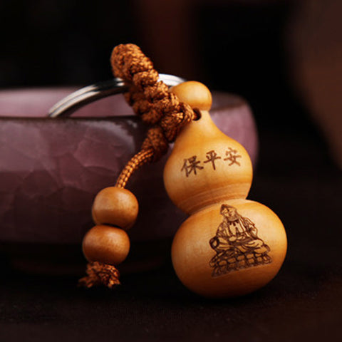traditional chinese good luck gourd wooden key chain