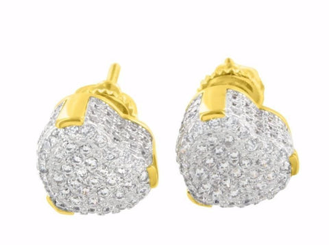hip hop style heart shape micro pave cz earrings