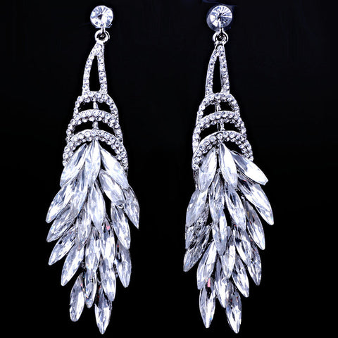 silver plated feather shaped crystal drop earrings
