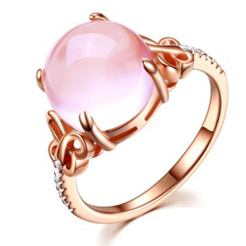 rose gold color big pink opal stone ring for women