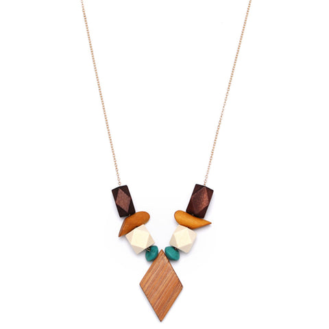 trendy geometric wood element pendant necklace for women