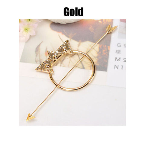 trendy metal circle & arrow hair pin for women