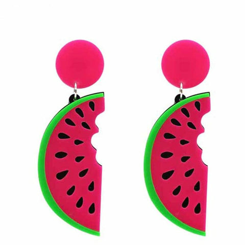 hip hop acrylic watermelon shape drop earrings for women