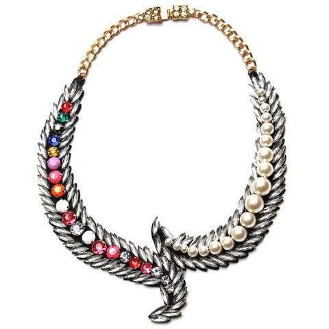 vintage simulated pearl choker statement necklace for women