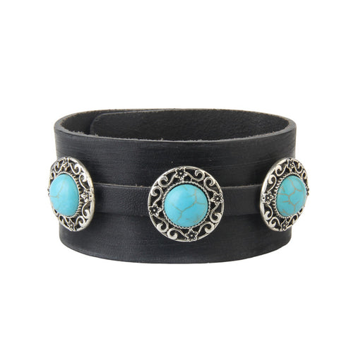 big blue stone genuine leather bracelet