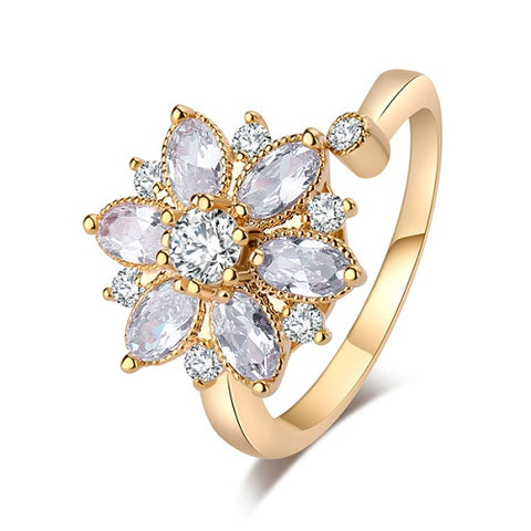 gold/silver color big cubic zirconia flower adjustable Ring