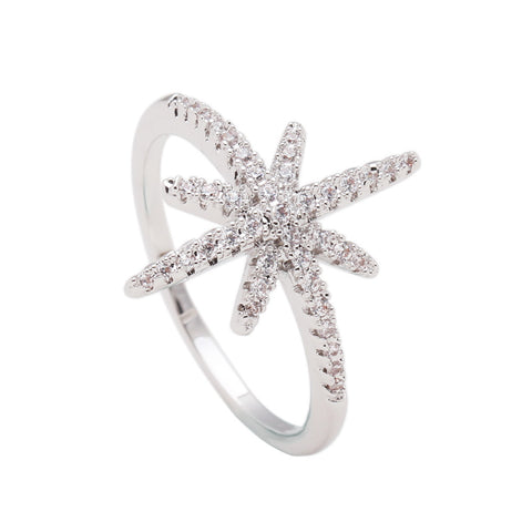 silver plated white zircon star ring for women