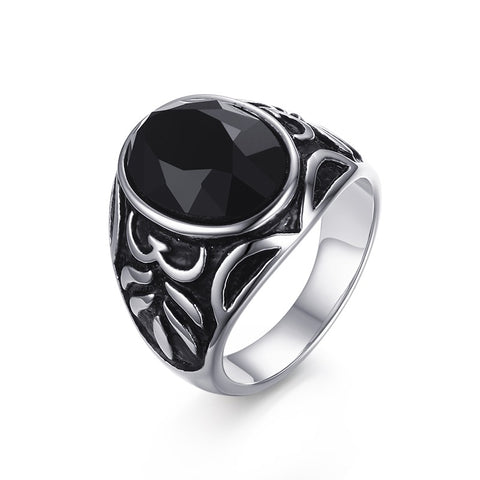 stainless steel black natural stone ring for men